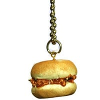 Pork BBQ Sandwich Fake Food Jewelry Necklace