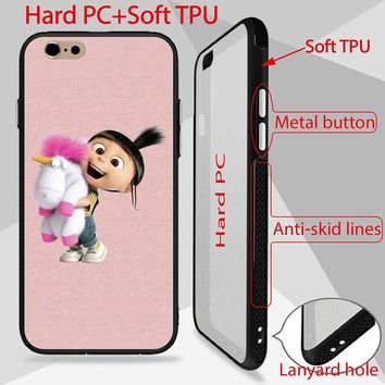 Minion My Unicorn Agnes Patterned Case For iPhone 6 6S Cover high quality back PC+TPU Side phone cases anti-skid lines design