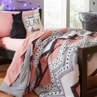 Full/Queen - Coral Dotted Chevron 7-Piece Comforter Set | Bedding | rue21