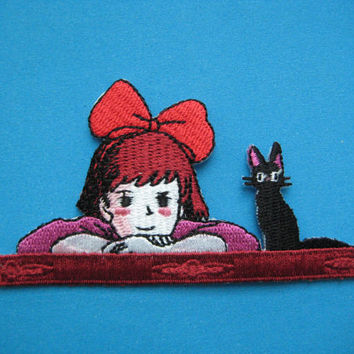 Iron-on Embroidered Patch Kiki with Jiji 3.6 inch