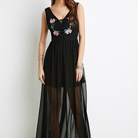 Floral-Embroidered Lace-Up Dress