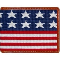 Old Glory Needlepoint Wallet in Red, White and Blue by Smathers & Branson