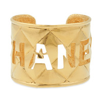 Vintage CHANEL Gold-tone Logo Rue Cuff, at HauteDecades on Etsy