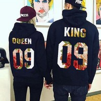 Womens QUEEN KING Hoodies Lover Sweater +Gift Necklace