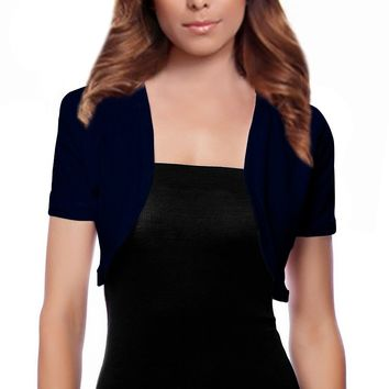 Short Sleeve Open Shrug Basic Bolero