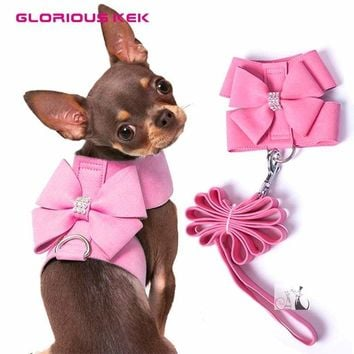 GLORIOUS Soft Suede Leather Small Dog Harness