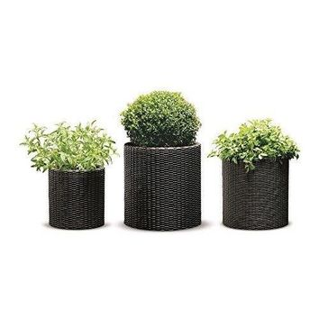 Decor Pots Set Rattan Resin Garden Flower Plant Planters Decor Pots 3PC Set