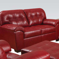Acme Elegance Stylish Cardinal Bonded Leather Loveseat