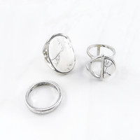 Marble & Silver Ring Set