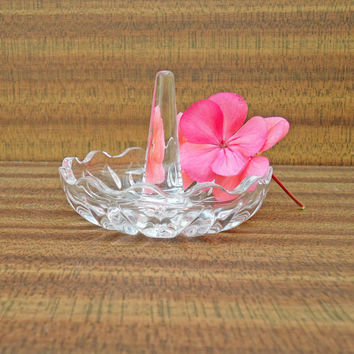 Vintage Art Deco, Depression Clear Glass Ring Holder, UK Seller