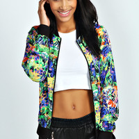Linnea Tropical Print Bomber Jacket