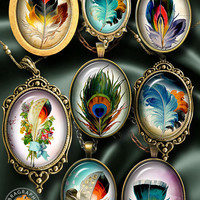 Vintage Feathers - Digital Collage Sheet - 30x40mm, 22x30mm ovals - Instant Digital Download for Pendants, Cabochons, Cameos, Crafts CG-1000