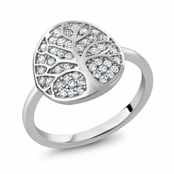 Sterling Silver Gorgeous White Tree Of Life Ring Made With Swarovski Zirconia