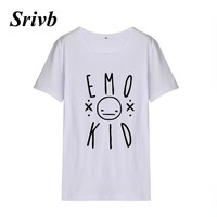 Srivb Emo Kid Harajuku Women Punk Rock Tumblr Short Sleeve Summer Cotton  Hip Hop Women T-shirt Black White Graphic Tshirt Women