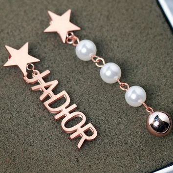 Jadior fashion asymmetric titanium steel pearl earrings with female temperament long star fringe rose gold earrings