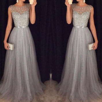 Gray Beading Beach Bridesmaid Dresses 2017 robe demoiselle d'honneur For Wedding Party Long Formal Dress Lady Gowns M2881