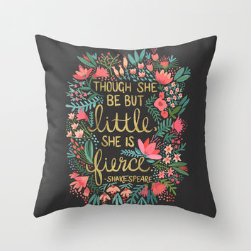 Little & Fierce on Charcoal Throw Pillow by Cat Coquillette