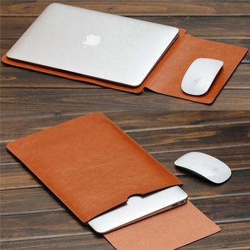 """2017 For MacBook Air Pro Retina 11 12 13 15"""" inch Laptop Bag PU Leather Case Sleeve Notebook Ultrabook Carry Bag Case Pouch"""