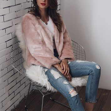 Fashion New Winter Women Ladies Luxury Fluffy Fur Coat Elegant Warm Long Sleeve Party Club Jacket Streetwear femme Plus Size