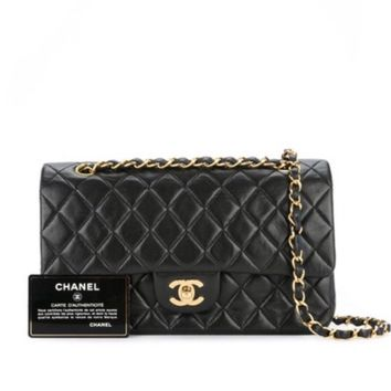 CHANEL BLACK QUILTED 2.55 LAMBSKIN VINTAGE MEDIUM CLASSIC DOUBLE FLAP BAG GHW Z4