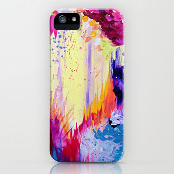 IN TIMES OF CHAOS - Intense Nature Abstract Acrylic Painting Wild Rainbow Volcano Waves Fine Art  iPhone & iPod Case by EbiEmporium