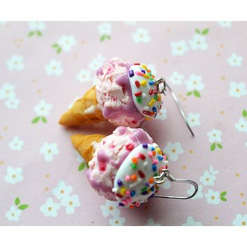 Strawberry Ice Cream Cone Dangle Hook Earrings, Polymer Clay Miniature Food Jewelry