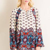 Border Print Top - Taupe