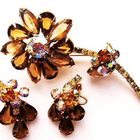 JULIANA Brooch D&E Earring Demi Set Mink Orange AB Rhinestone Flower Gold Metal Vintage