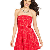 As U Wish Juniors Dress, Strapless Lace Belted A-Line - Juniors Dresses - Macy's
