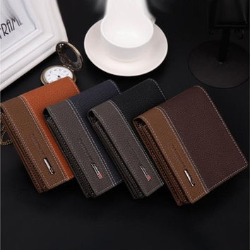 Fashion Mens Leather Bifold Money Card Holder Wallet Coin Purse Clutch Pockets With High Quality