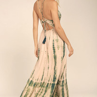 Desert Dame Green and Peach Tie-Dye Maxi Dress