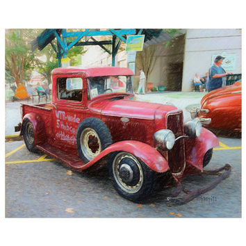 Classic 34 Ford Pickup, Old Thirties Truck, Cruising the Coast, 8x10 11x14 16x20 Giclee Print - Will Trade - Korpita