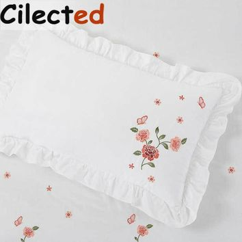 Cilected 1Pair White Embroidery Rose Pillowcases Cotton Ruffles Pillow Sham Cover For Girls Princess Bedding Sleep 48*74cm