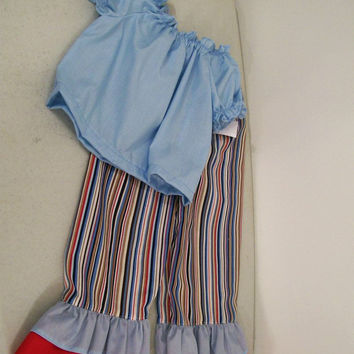Girls Pants Set-Blue Stripe Ruffled-Peasant Top-#223