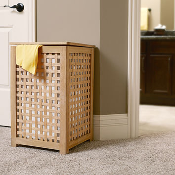 Household Essentials 6300-1 Oak Lattice Hamper With Barnwood Finish