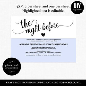 Rehearsal dinner invitations the night before | Rustic kraft wedding invitations | Brown kraft wedding invitations | DIY Party Invitation