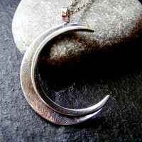 Silver Crescent Moon Pendant necklace Textured moon pendant with chain