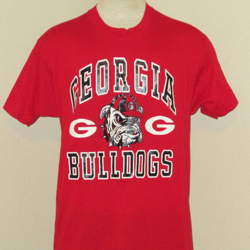 Vintage Deadstock 80s GEORGIA BULLDOGS GRAPHIC Red College University Men Football Athletic Medium Large Screen Stars 50/50 T-Shirt