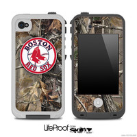 Real Camouflage with Boston Red Sox Logo Skin for the iPhone 4/4s or 5 LifeProof Case