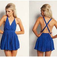 Blue Deep-V Front Dress with Open Criss-Cross Back