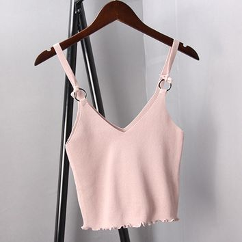 Spaghetti Strap Knit Sexy V-neck Bustier Crop top
