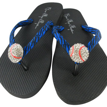 Royal Electric Baseball Blue Neon Bling Rhinestone Flip Flops