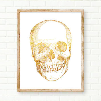 Gold Foil Skull, Anatomical Print,Skull Print, DIGITAL DOWNLOAD, Printable Anatomical Art, Human Skull, Medical Print, Anatomy Poster, Wall