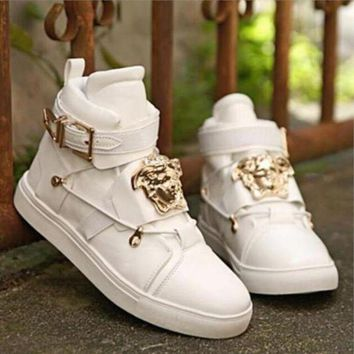 Gotopfashion Versace Women Men High Help Sneakers Fashion Trending Running Sports Shoes White