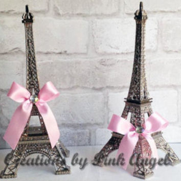 "6"" Eiffel Tower Cake Topper, Gold and Pink Eiffel Tower, Paris Cake Topper, Black Eiffel Tower, Paris Baby Shower, 1 Tower Included"