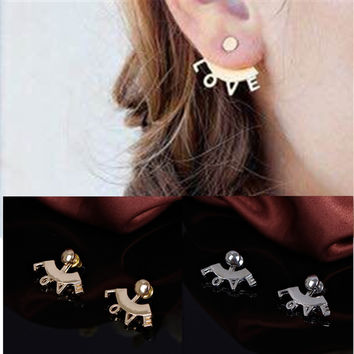 Stylish Strong Character Metal Alphabet Earring Accessory [4918495300]