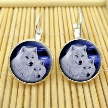 Hot Sell Wolf Stud Earring For Women Glass Cabachon Bezel Brincos Perola Art Photo Dome Round Earrings Fashion Jewelry