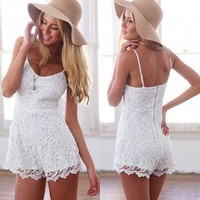 OURS Women's Floral Lace Spaghetti Backless Rompers Sleeveless Jumpsuits