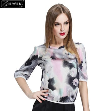 Lilysilk 100% Silk Chinese Blouse Women Pure Floral Blusas 19 Momme 3 Quarter Sleeve Ink Painting Fashion Tops Summer Shirt