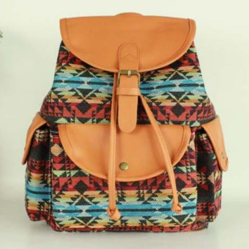 Tribal Aztec Travel Bag Canvas Lightweight College Backpack